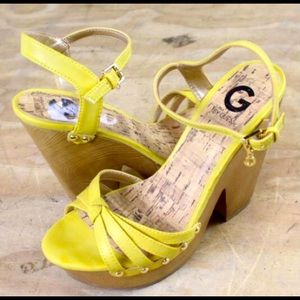 """New Listing Guess 5"""" in heel wedges yellow sz 8"""
